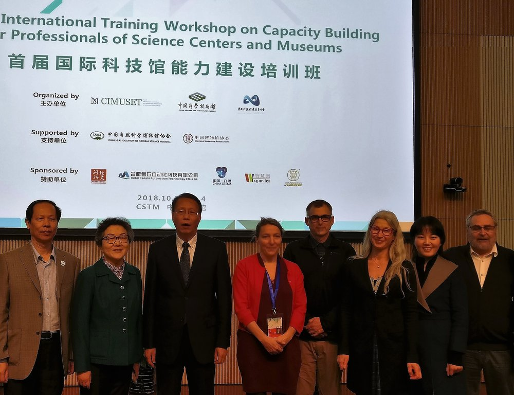 Hosts and lecturers, from the left. Dep.Dir.Gen. Ou Jiancheng, Dr. Cheng Donghong, Mr. Yin Hao, Dr. Tilly Blyth, Mr. Eric Dimond, Ms. Carina Jaatinen, translator from the CSTM staff and Mr. Claude Faubert.