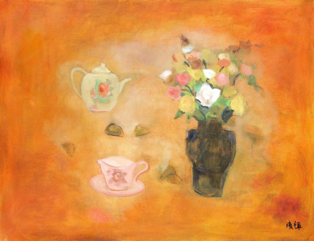 玫瑰下午茶 黃騰輝 油畫 2010 130x89cm