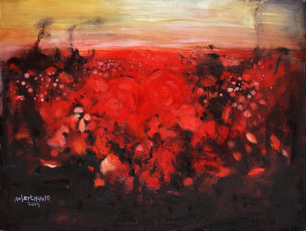 滿園玫瑰 2009 油彩 畫布/ Roses in full of Garden 2009 Oil painting on canvas 130x89cm  2010.12.02 北京保利秋拍 成交價格 RMB $ 235,200