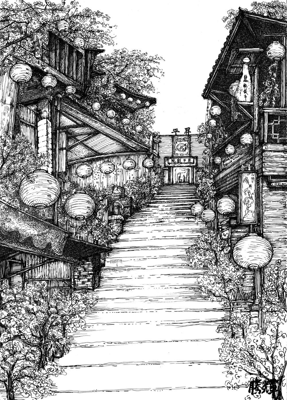 1997_4 九份昇平(冬日) 鉛筆.畫布.jpg