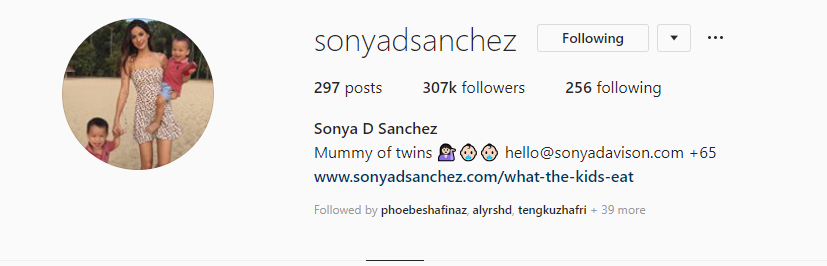 Name: Sonya D Sanchez From: Thailand Nationality: Singaporean Followers: 307k