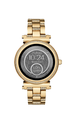Powered by Android Wear™, the Michael Kors Access Sofie gold-tone touchscreen smartwatch with full-round display and pavé crystal topring connects with your favorite apps and is compatible with iPhone.png