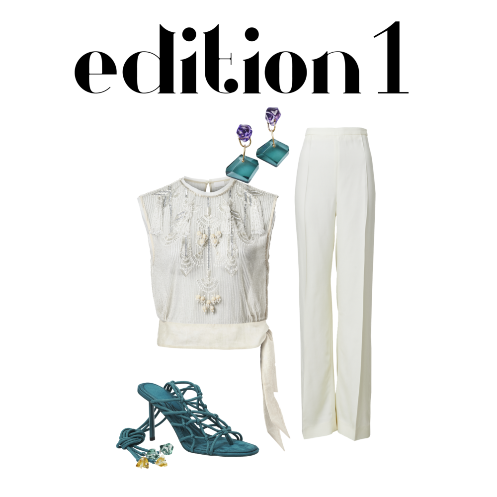 Stone Earrings - RM 139.95 Trousers - RM 419.95 Embellished Top - RM 649.95 Strappy Heels - RM 374.95