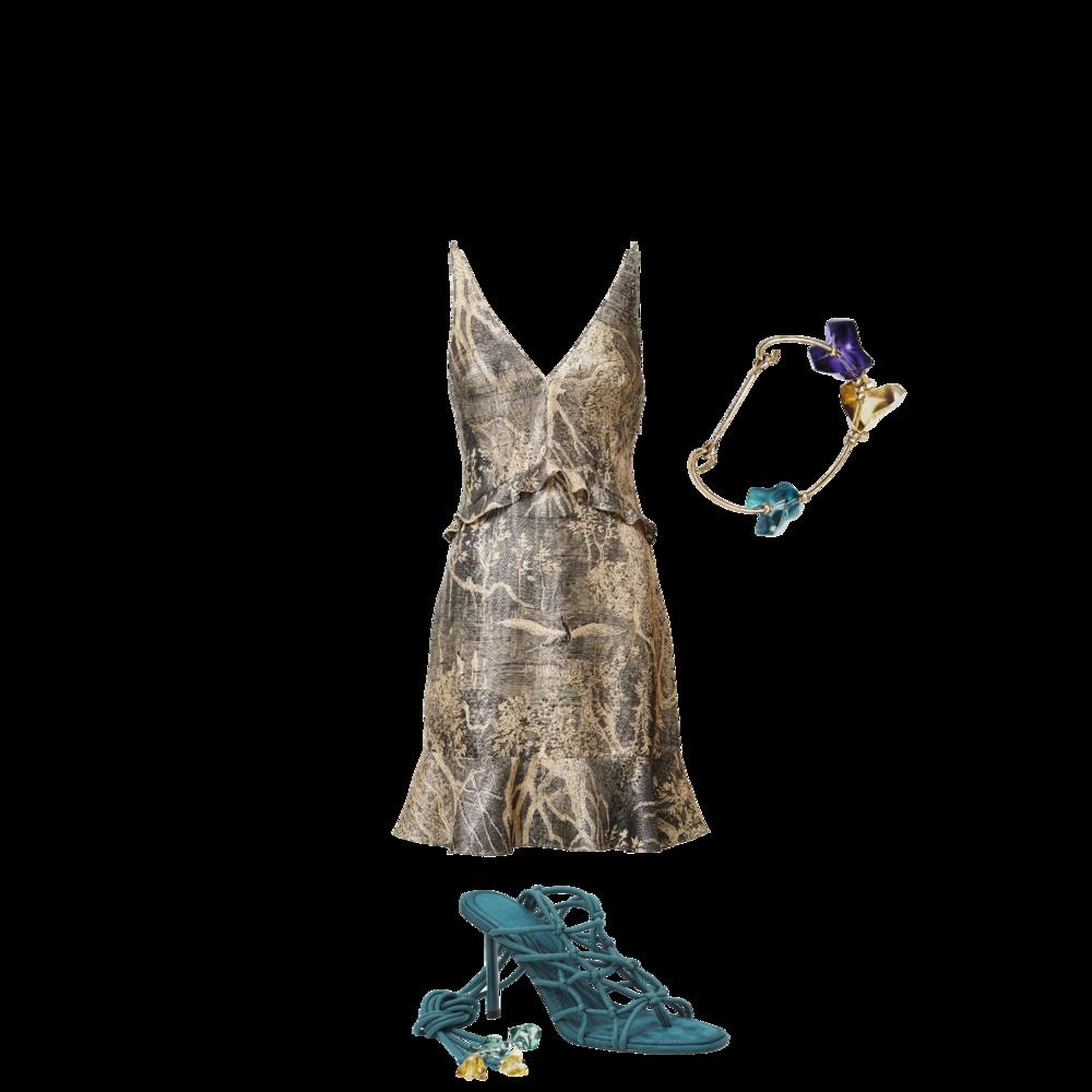 Metallic Dress - RM 309.95 Bracelet - RM 109.95 Strappy Heels - RM 374.95