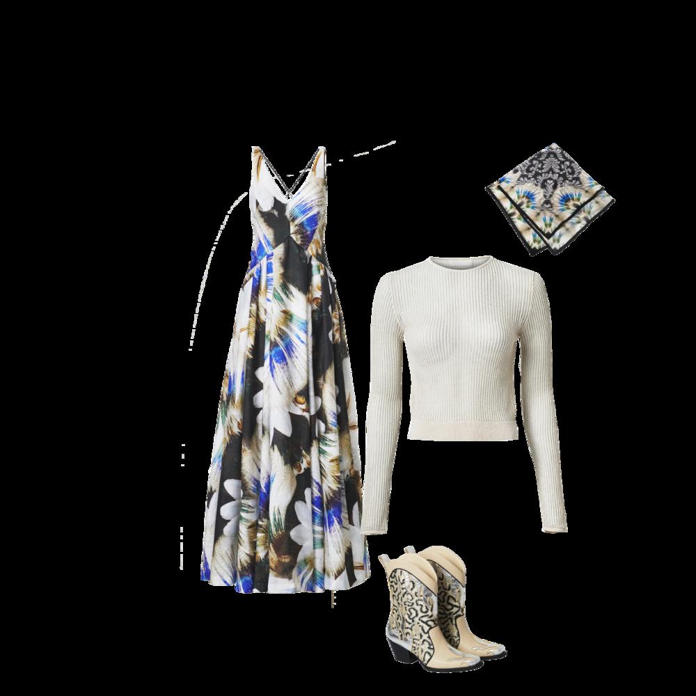 Printed Dress - RM 899.95 Knit Top - RM 229.95 Big Scarf - RM 157.95 Boots - RM 549.95