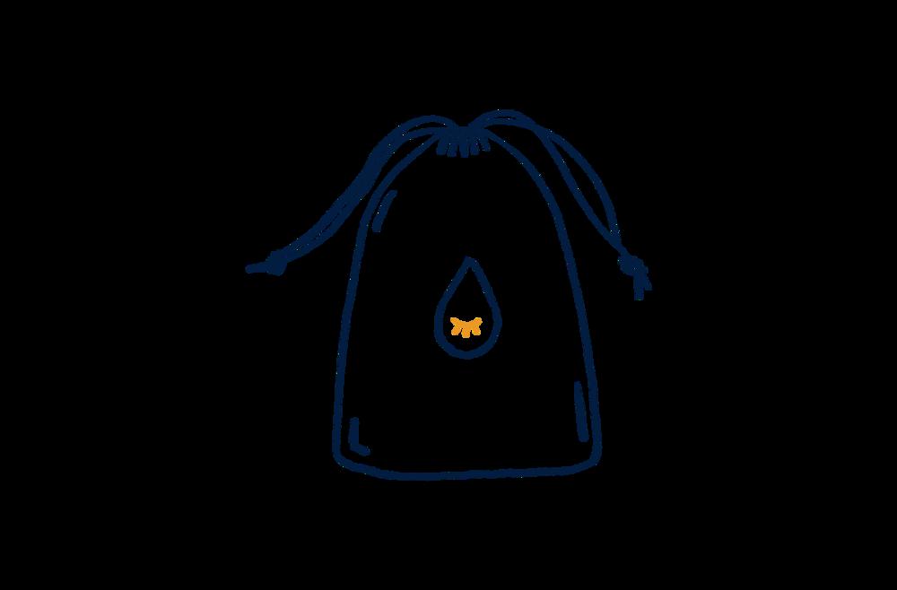 Livré dans son petit sac brodé