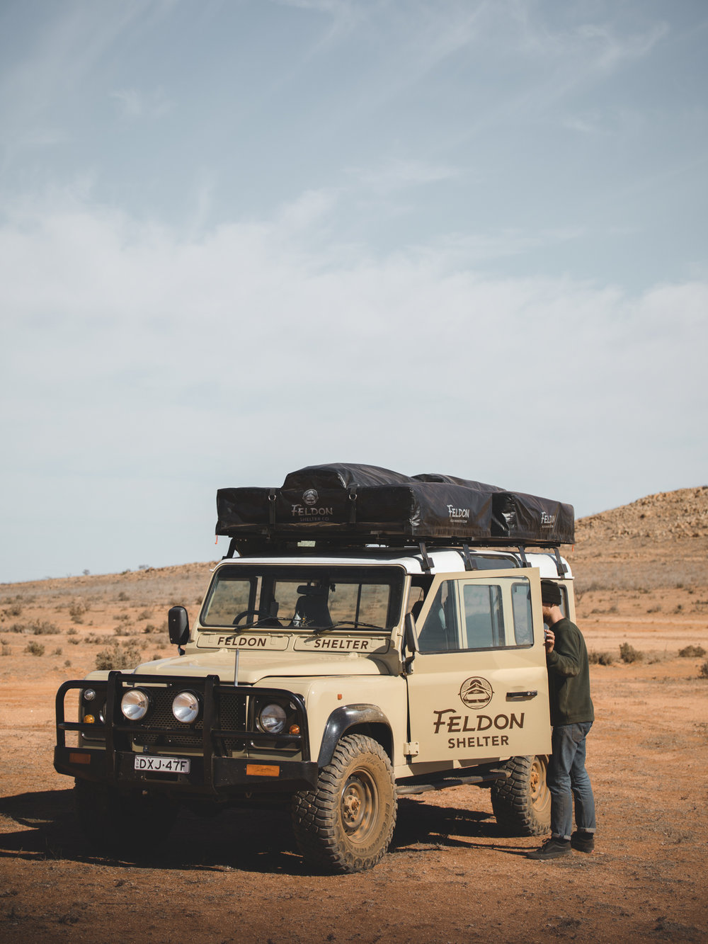 Custom built Land Rover Defender with two Feldon Shelter Roof Top Tents.