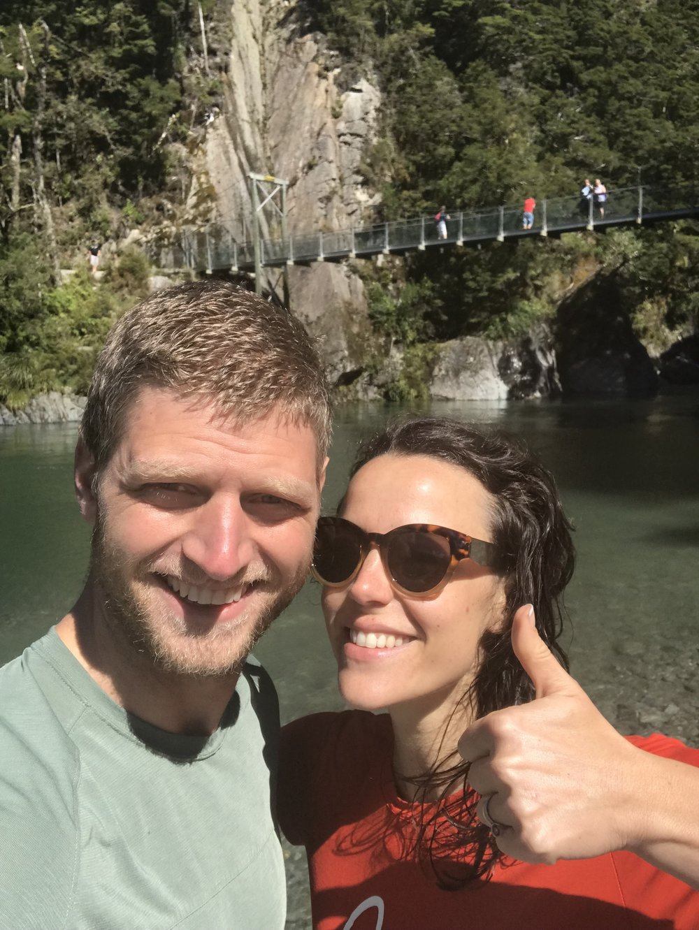 Hey! We just jumped off this bridge and are having a great time after a day stuck inside a camper van.