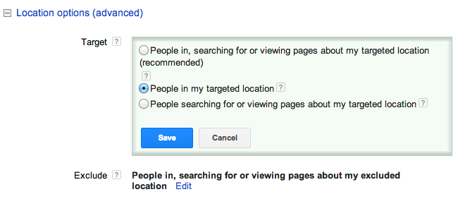 Google AdWords Location Options