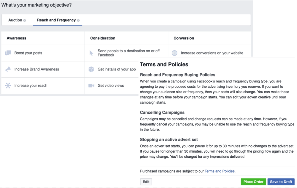 Facebook Reach and Frequency Terms and Conditions
