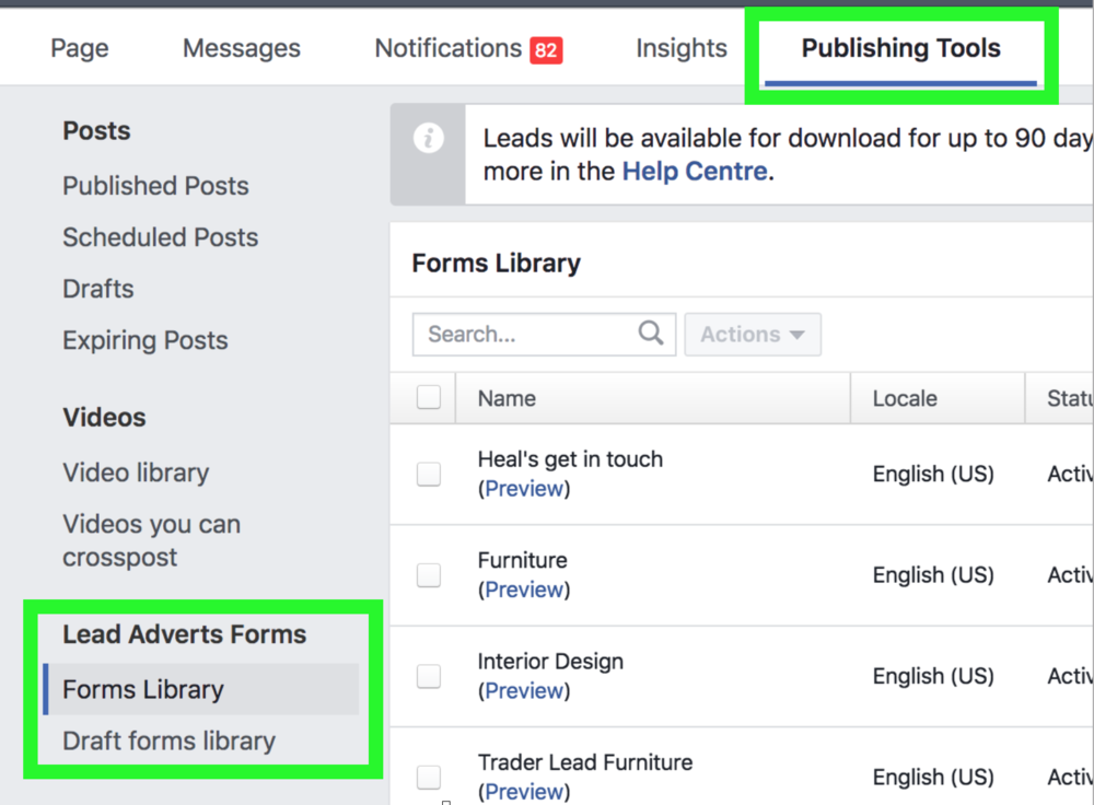 Facebook Lead Ads Forms Library