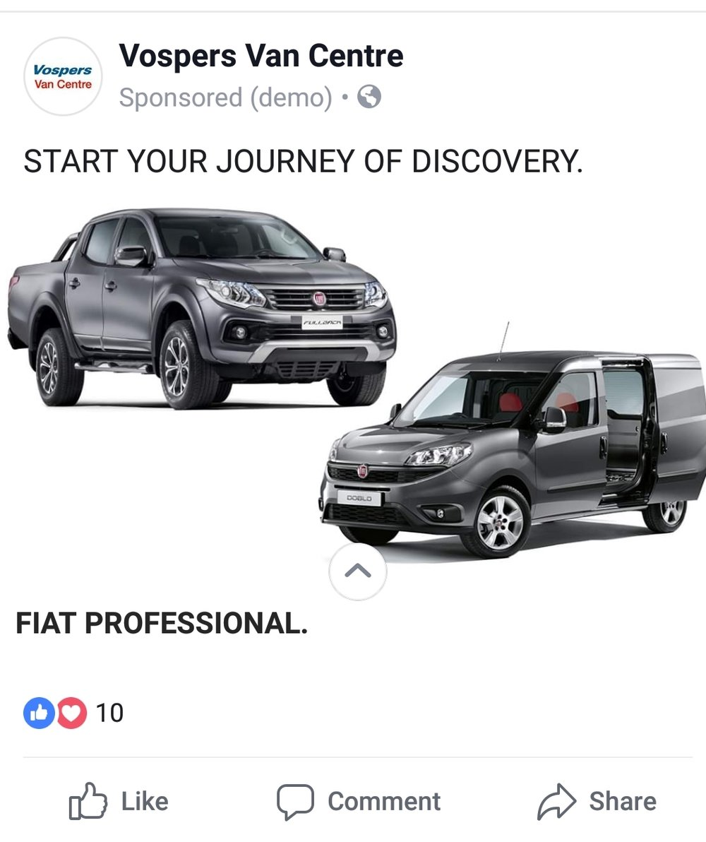 Vospers Van Centre used Facebook Canvas Ads to showcase Fiat models and generate sales