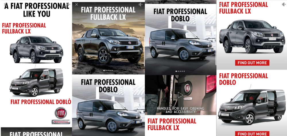 This Facebook Canvas ad by Fiat uses a combination of images and video to showcase Fiat Professional models and highlight specific features.