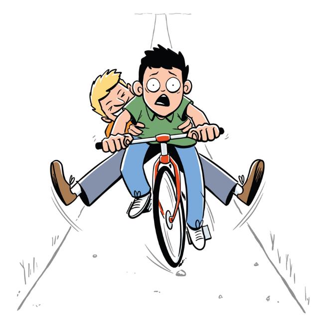 illustration boys riding bike
