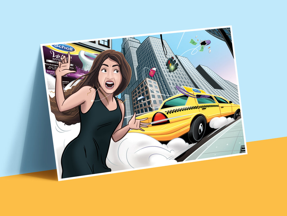 illustration NY Taxi woman