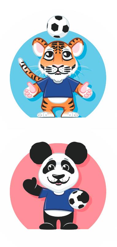 tiger panda football soccer cartoon