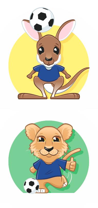 lion kangaroo football soccer cartoon