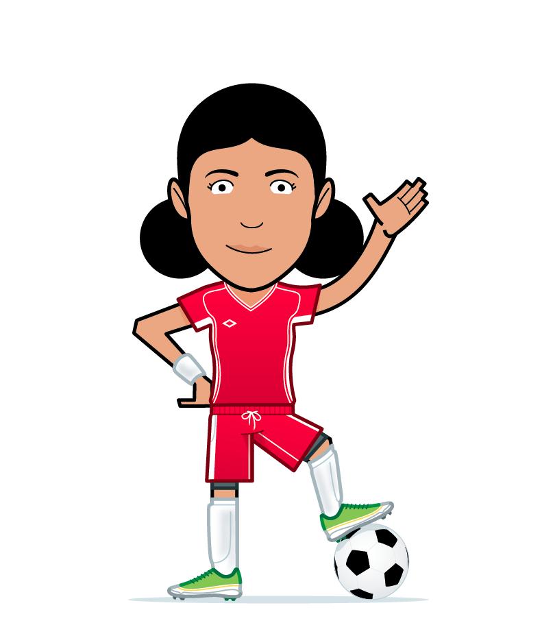 cartoon football girl