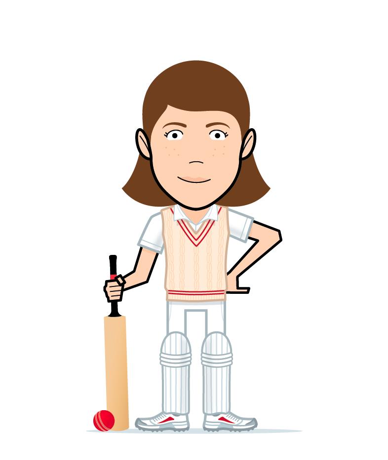 cartoon cricket girl