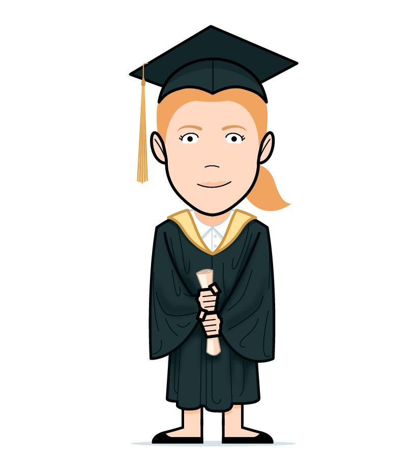 cartoon graduate girl