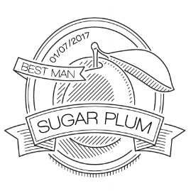 plum badge illustration