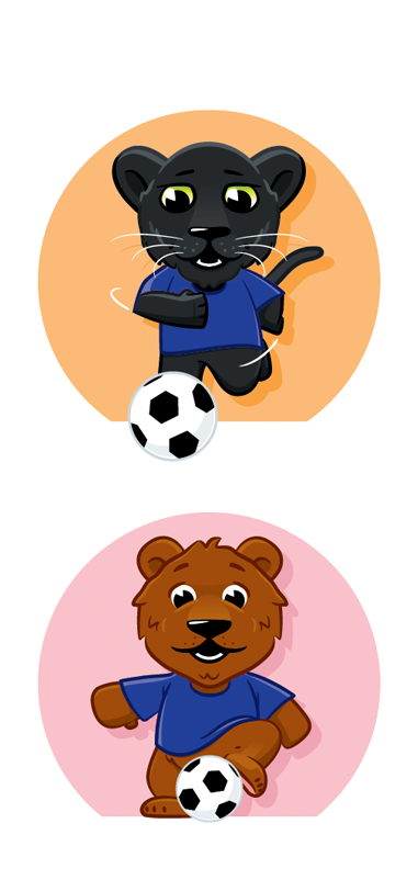 bear panther football soccer cartoon