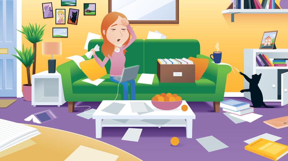 cartoon living room messy