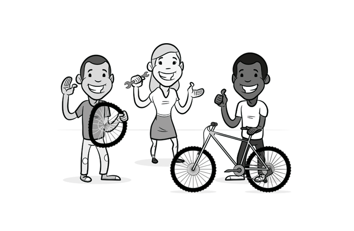 Children bicycle cartoon