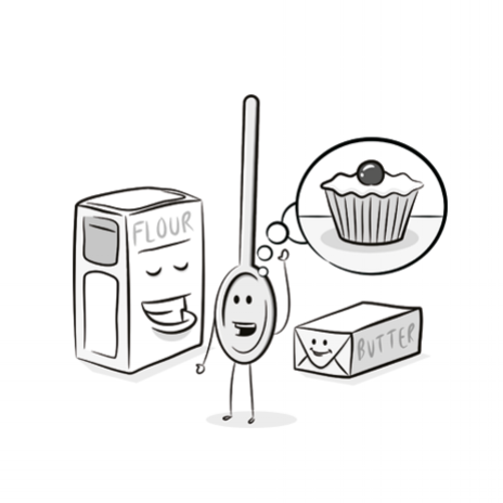 cake ingredients cartoon