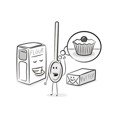 cake ingredients cartoon