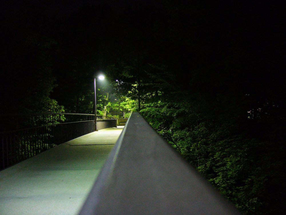 An empty Little Mac Bridge which spans a large ravine through campus