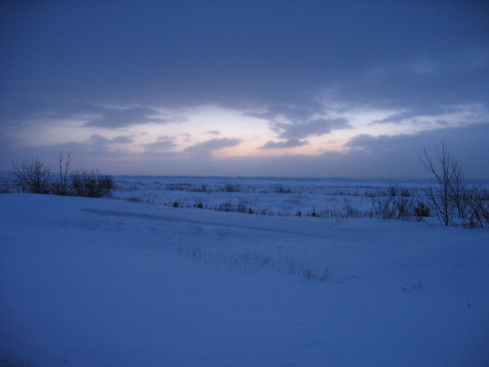Without the flash, the morning light begins to illuminate the snow.