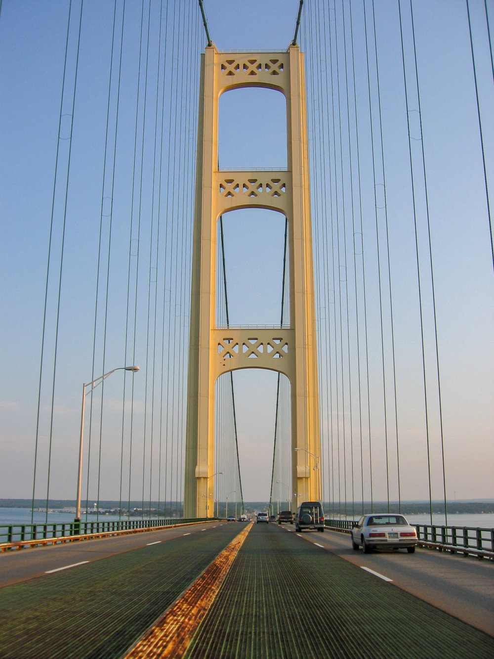 The journey back to the Lower Peninsula across the Mighty Mackinac Bridge.