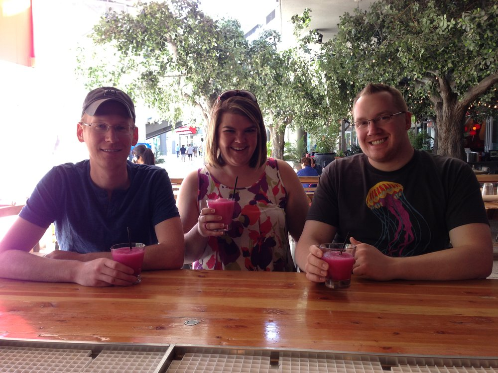 Kevin, Ash, and I getting prickly pear margaritas as Kevin delayed his flight another day. Gotta love Southwest for that feature!