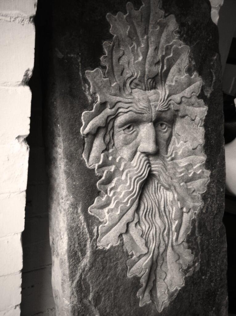 Old Green Man on reclaimed Flag