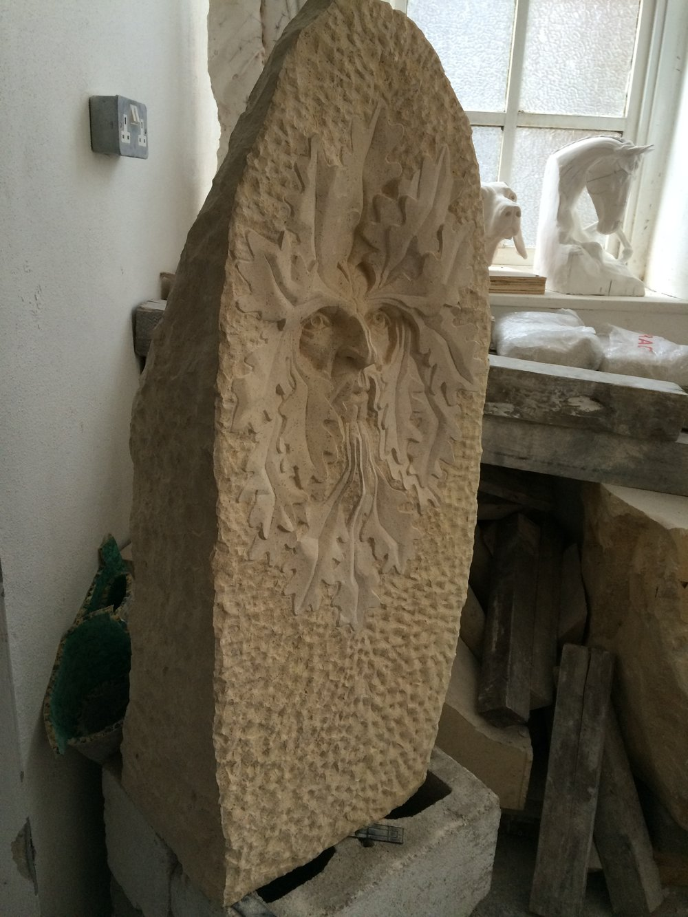 Green man in Tadcaster limestone