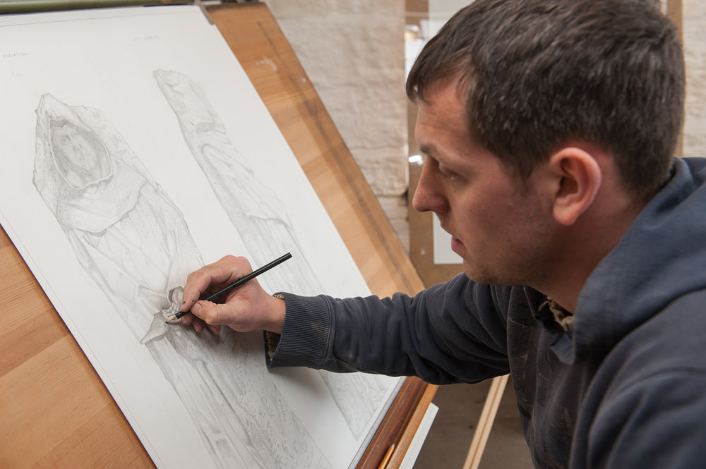 Joseph drawing the monk - photo by Paul Harris