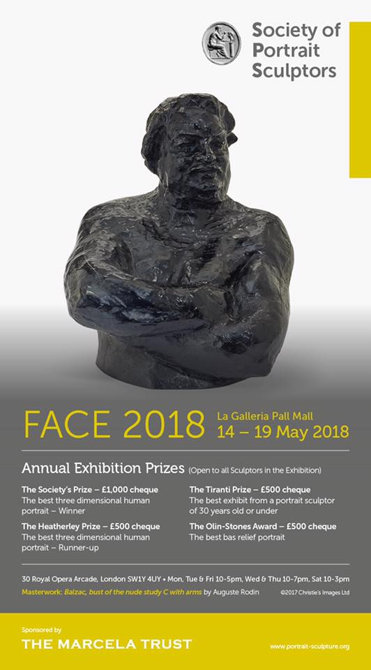 Portrait of James Butler RA accepted into Face 2018 exhibition - Josephs sculpture of James Butler RA has been accepted into the society of portrait sculptors annual exhibition. The work will be on display from the 14th to the 19th of May  at London's La Galleria Pall Mall.