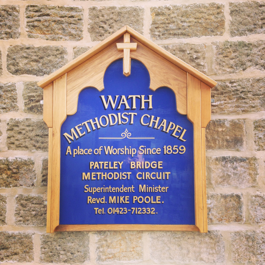 Wath Chapel hand painted sign in Oak and Ash