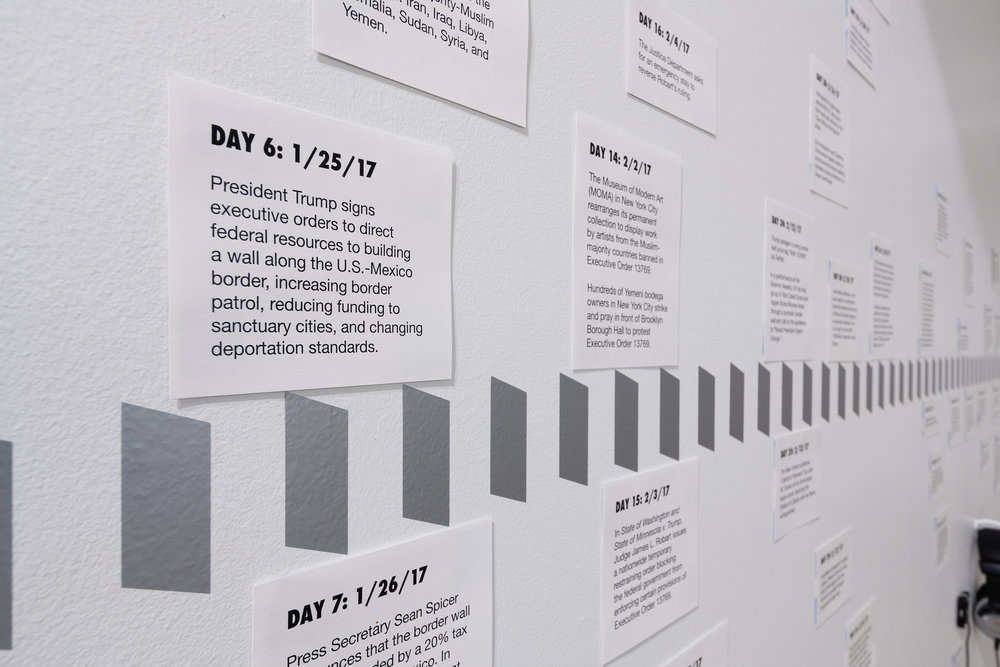 Timeline of the Trump administration's changing immigration policy during his first 100+ days in office. Image by Jerry Mann courtesy of SPACES.