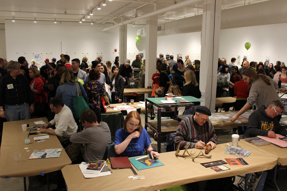 The George Gund Foundation gallery during Monster Drawing Rally.