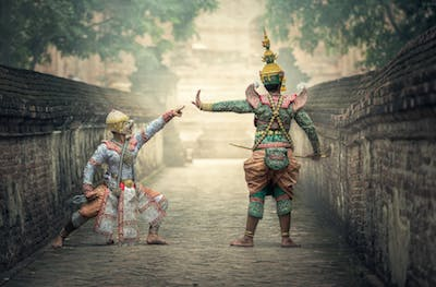 Two actors in traditional costume in Far East