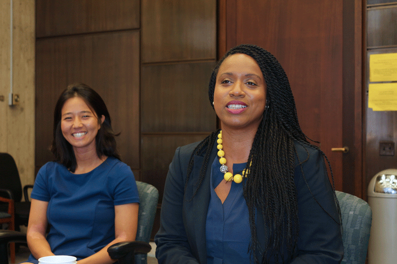 Councilors-at-Large Michelle Wu (l), and Ayanna Pressley (r)