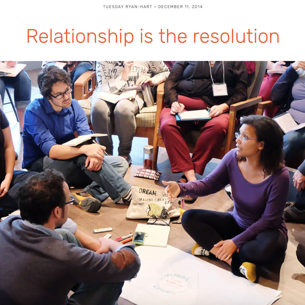 "BLOG:  Relationship is the resolution  / ""This resolution in relationship is not neat and tidy, but more real, deep, and entirely based in practicing together. The relationship is our resolution...."""