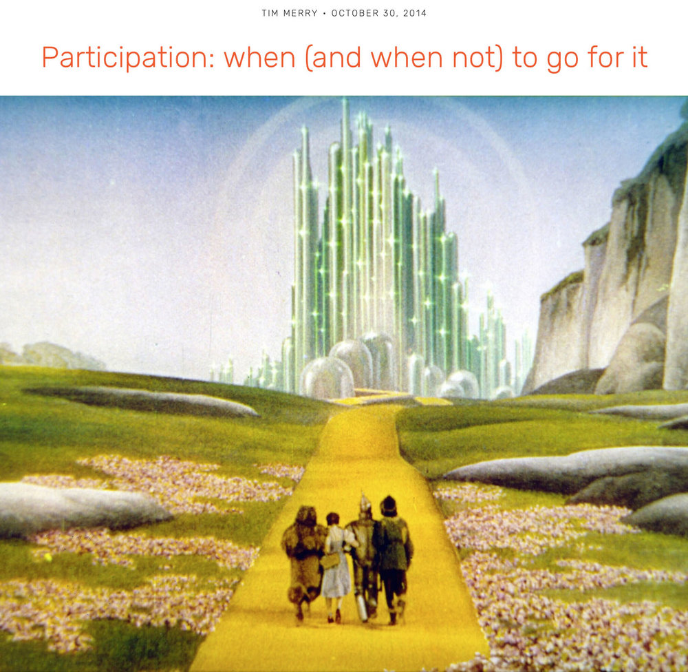 "BLOG:  Participation - when (and when not) to go for it  / ""In this same meeting of senior leaders last week one person said that it feels like ""a participatory leadership takeover!"" This lead us into a great conversation about when and when not to apply a participatory approach. This type of discernment is essential to expanding our leadership to integrate greater engagement. Everyone seems to want do it, but the right conditions are critical..."""