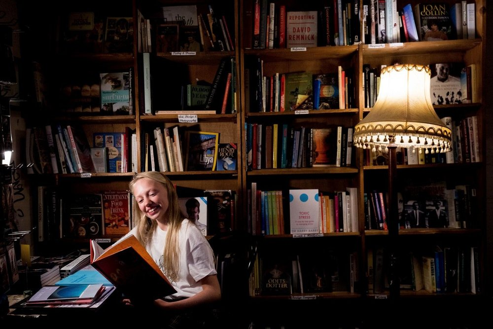 Bookworm - This photo was taken at the Winding Stair bookshop, Ormond Quay, Dublin for the launch of Irish Book Week. It was featured as one of the images of the day on www.irishtimes.comPhotograph: Tom Honan/The Irish Times.