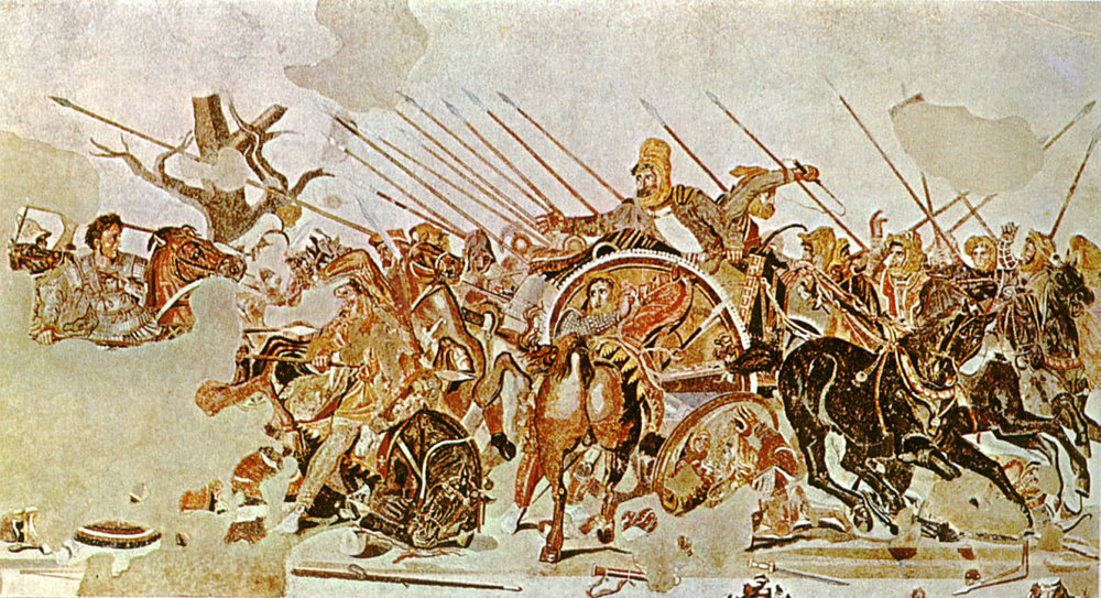 The Battle of Issus, between Alexander the Great on horseback to the left, and Darius III in the chariot to the right, represented in a Pompeii mosaic dated 1st century BC – Naples National Archaeological Museum.