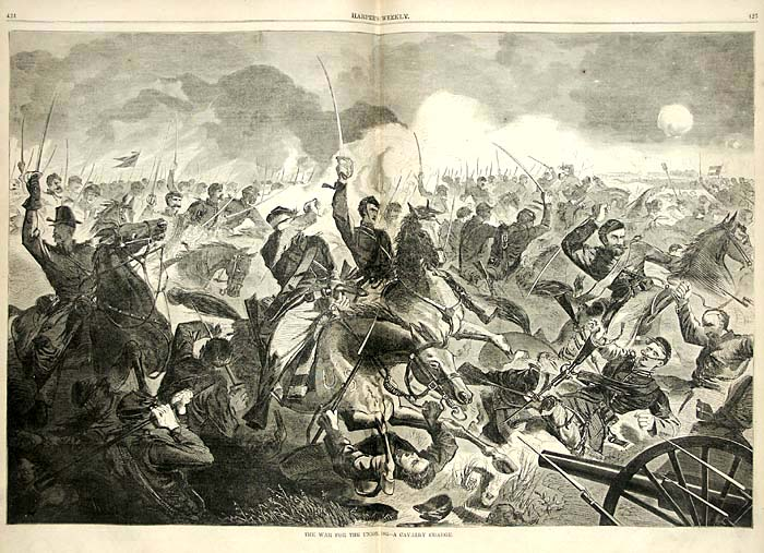 Winslow Homer. The War for the Union - Cavalry Charge, printed in  Harper's Weekly  5 July 1862