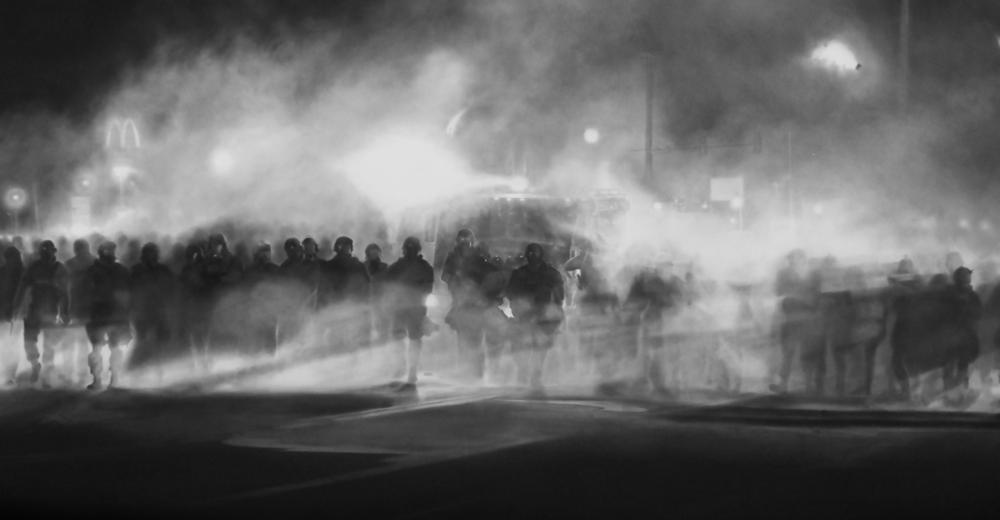 Robert Longo. Untitled (Ferguson) Diptych, 2014. Photograph: Petzel Gallery