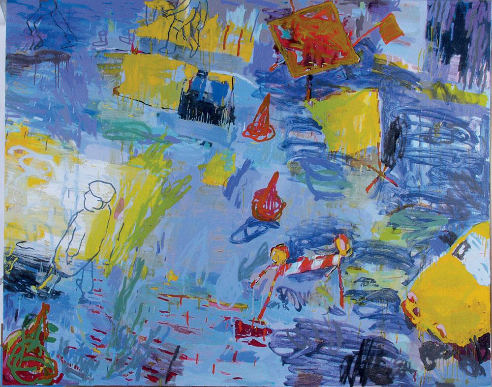 "Lexi Axon,  Daddio Listens . (68"" x 54"", oil on canvas, 2012"